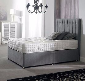 """BEAUTIFUL GREY BED!! 4FT6 DOUBLE DIVAN BED BASE WITH 12"""" SUPER ROYALTY MATTRESS INCLUDING HEADBOARD"""