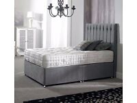 wow amazing offer!! DOUBLE SUPER ROYALTY GREY DIVAN BED + SUPER ROYALTY MATTRESS + HEADBOARD""