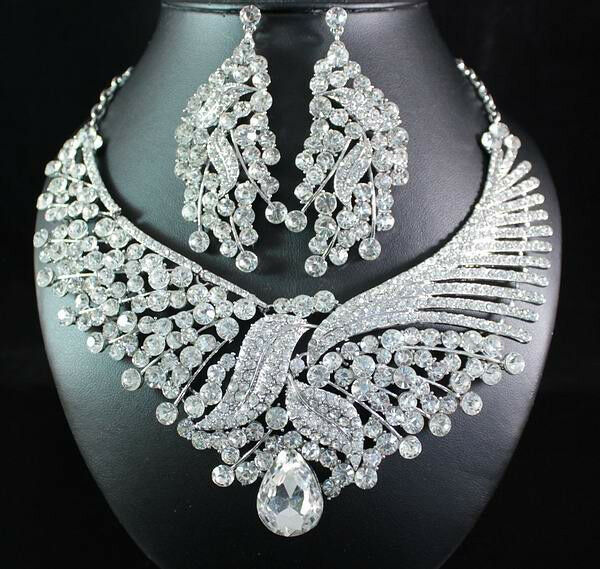 FLORAL CLEAR AUSTRIAN RHINESTONE BIB STATEMENT NECKLACE EARRING SET BRIDAL N1668