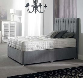 ***⚫***Complete Grey Bed with Super Royal Mattress**⚫ Brand New Divan Base, Headboard and Mattress