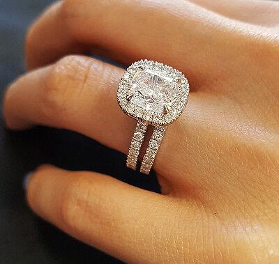 3.55Ct Cushion Cut Diamond Engagement Ring +Wedding Band  D/VS1 GIA 14kw Natural