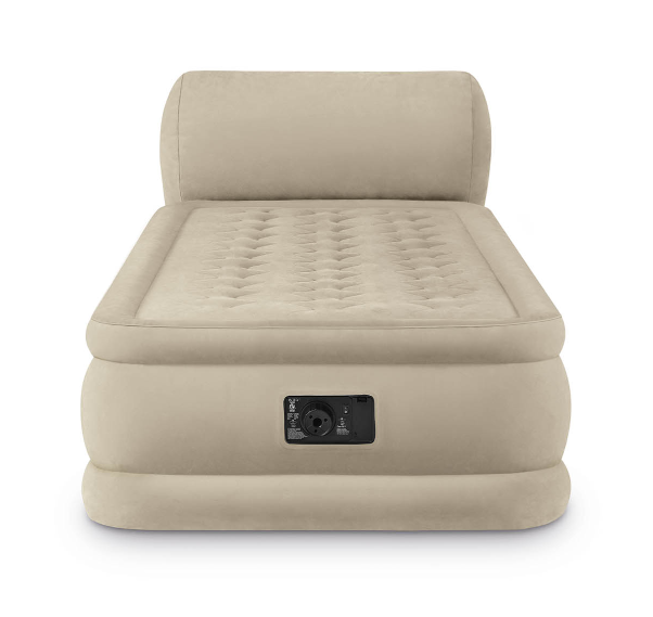 inflatable air mattress with headboard built in