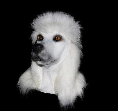 Weißer Pudel Hund Maske Latex Überkopf Tier Kostüm - Pudel Hund Kostüm