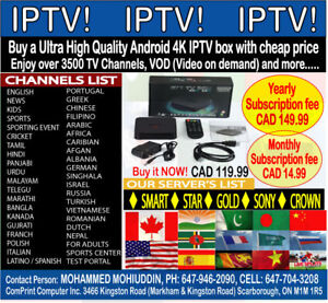 IPTV BOX (ULTRA HIGH QUALITY ANDROID 4K) & SUBSCRIPTION FOR SALE