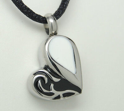 BLACK & WHITE HEART CREMATION JEWELRY HEART CREMATION URN NECKLACE MEMORIAL URNS