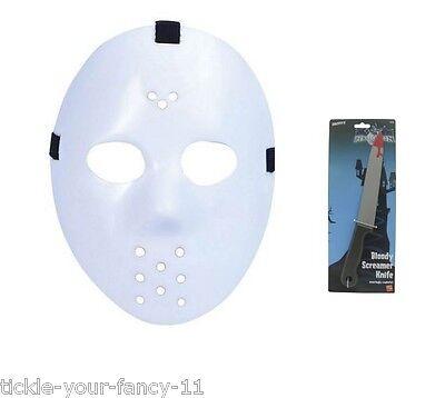 Men's White Jason Halloween Horror Hockey Fancy Dress Mask & Blood Dagger Stag - Men's Hockey Kostüm