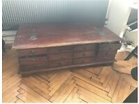 Large Antique vintage solid wood coffee table chest of drawers