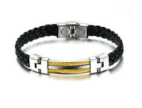 Bracelet neuf, pour homme cuir & stainless