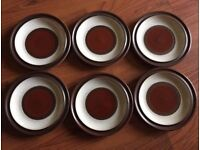 DENBY POTTERS WHEEL SIDE PLATES 6.5 INCHES WIDTH BROWN AND CREAM 6 SET