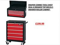 DRAPER COMBO TOOL CHEST DEAL 6 DRAWER TOP BOX & 5 DRAWER ROLLER CABINET