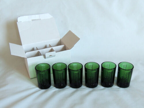 Jagermeister Green Glass Shot Glasses.. Set of 6 With Embossed Logo.. New