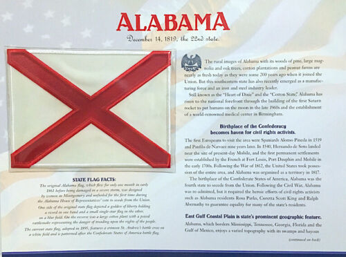 ALABAMA Willabee & Ward STATE FLAG PATCH INFO CARD United States Flag Collection