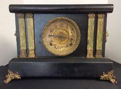 Antique Black E. Ingraham Company Mantle Clock