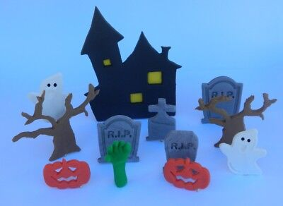 EDIBLE SCENE HALLOWEEN house GRAVE ghost CAKE TOPPER decorations COMPLETE KIT](Over Farm Halloween)