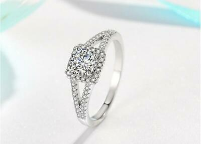 Pave Princess 2 Ct Cubic Zirconia 925 Sterling Silver Engagement Ring RS19