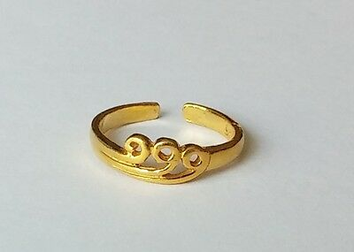925 Sterling Silver Gold Tone Adjustable Swirl Wave Toe Ring New