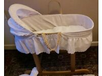 Moses basket, rocking stand and sheets