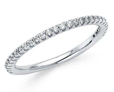 Diamond Wedding Ring band 0.25 Carat Round Cut 14k White Gold French pave band