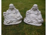 1 foot high Laughing Buddha garden ornaments £10 each or offers considered on both of them
