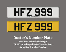 HFZ 999 – Price Includes All DVLA Fees - Cherished Registration Private Personalised Number Plate