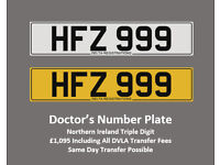 HFZ 999 – Price Includes DVLA Fees – Others Available - Cherished Personal Registration Number Plate