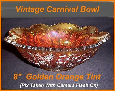 "Antique  Vintage Carnival Glass Bowl ""Sun Ray Style""  MARIGOLD CARNIVAL GLASS 8"""