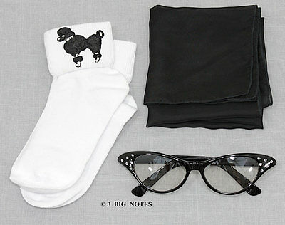 GIRLS 50s Poodle Skirt/Sock Hop Acc. Lot - Socks, Glasses, Scarf _ BLACK