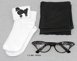 GIRLS 50s Poodle Skirt/Sock Hop Acc. Lot - Socks, Glasses, Scarf _ BLACK