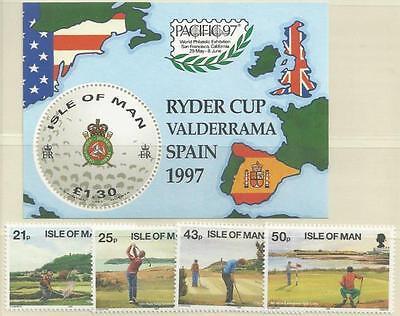 Großbritannien - Isle of Man 1997** postfr. MiNr.730-733 + Block 29 - Golfplätze
