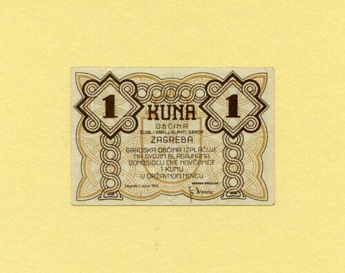 CROATIA KINGDOM, WWII AXIS INFLUENCE 1 KUNA 1942 ZAGREB CITY Emergency currency