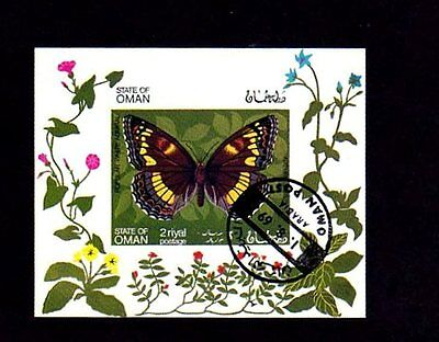 OMAN - 1969 - BUTTERFLY - INSECT - ADMIRAL - CTO  - NH - IMPERF SOUVENIR SHEET