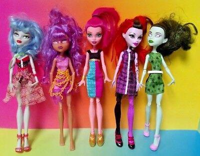 MONSTER HIGH 5 DOLL Lot Bundle MH Rare Mattel Clothes Accessories Halloween # 53 (Halloween Monster High Dolls)