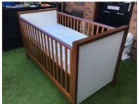 Izziwotnot latitude walnut cot,mattress & drawer
