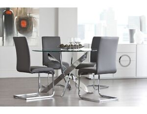 Two grey and chrome dining table chairs