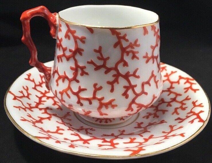 Rare KPM Porcelain Coral Pattern Cup & Saucer - Mid 19th Century