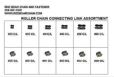25 35 40 41 50 60 Roller Chain Connecting-offset-link Assortment Clear Box