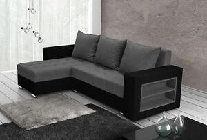 corner sofa bed sleeping option living room grey fabric black leather shelf