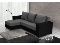 New Corner Sofa Bed GREY Fabric and BLACK Eco Lather Free Delivery
