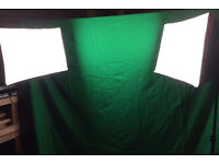 Green and white video screens, x2 soft boxes with stands, x4 soft box bulbs and screen clips