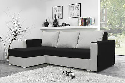 Brand New Corner Sofa Bed MOJITO BLACK AND WHITE With Underneath Storage
