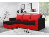 MOJITO corner sofa bed BLACK AND RED universal