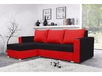 BRAND NEW CORNER SOFA BED MOJITO BLACK AND RED STORAGE UNIVERSAL