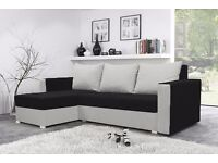 BRAND NEW CORNER SOFA BED MOJITO BLACK AND WHITE UNIVERSAL RIGHT HAND SIDE OR LEFT HAND SIDE STORAGE