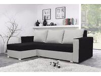 MOJITO - BLACK and White colour sofa with sleeping option