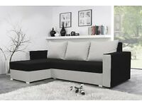 New Corner Sofa Bed with Storage in BLACK & WHITE, FAST & FREE DELIVERY ! ! ! GIFT ! ! !