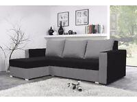 BRAND NEW CORNER SOFA BED MOJITO BLACK AND GREY UNIVERSAL WITH STORAGE