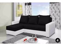 Brand New Corner Sofa bed Alex Black Fabric White Leather Universal Sleeping Surface And Storage