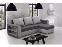 Brand New Corner Sofa Bed Madras Grey Colour Storage Sleeping Surface And 3 Big Pillows