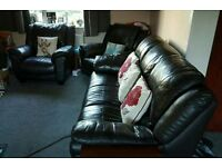 3 piece comfy black leather sofa suite - collection only.