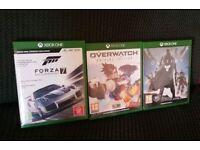 Xbox one games bundle OVERWATCH, FORZA 7 , DESTINY